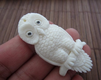 Native American Totem Hand Carved Ox Bone Flying Hunting Owl Totem Jewelry making supplies focal pendant