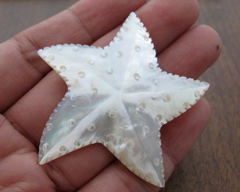 Jewelry making supplies B8506 Yellow Mother of Pearl Large Hand Carved Starfish
