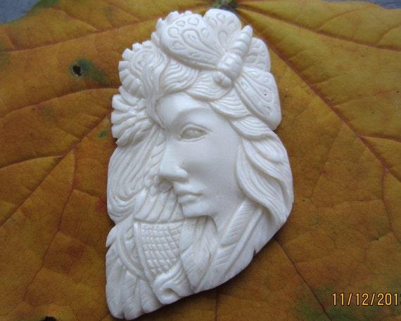 Stunning Goddess  Gaia Bone Carving Jewelry making Supplies SS8841