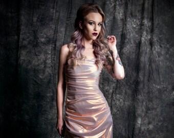 Liberace lamé bridesmaid wedding gown Sheath pleated ruching strapless dress rose gold Custom