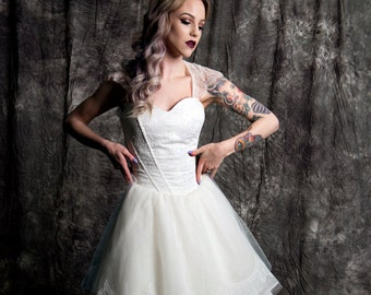 Brittani Chantilly Lace Knee Length Keyhole Cap Sleeve Gown Country Shabby Chic Custom Wedding Dress