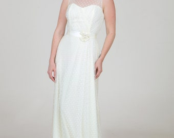 Charlotte Swiss Dot Stretch Sheath A-line Keyhole Illusion Gown Country Shabby Chic Custom