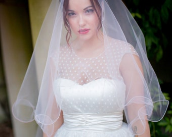 Color Veil with Whimsical Curly edge drop fingertip elbow colored bridal veil