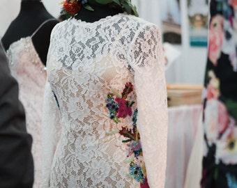 Abilene Lace Wedding Gala Evening Slipdress Gown with Longhorn Armadillo Texas Wildflower Beading