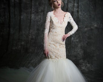 Blake Fit and Flare Guipure Venetian Lace Tulle Mermaid Bridal Wedding Gown