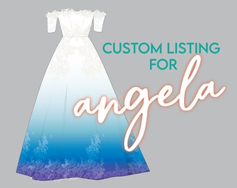 Custom Listing: Angela's Marine Ombre Dip Dyed Bridal Wedding Gown with Lace Hem