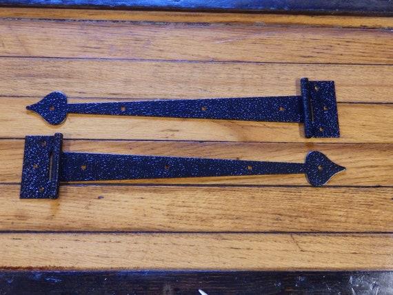 Vintage NOS T-STRAP HINGES Hammered Antique Copper for FLUSH Cabinet Doors