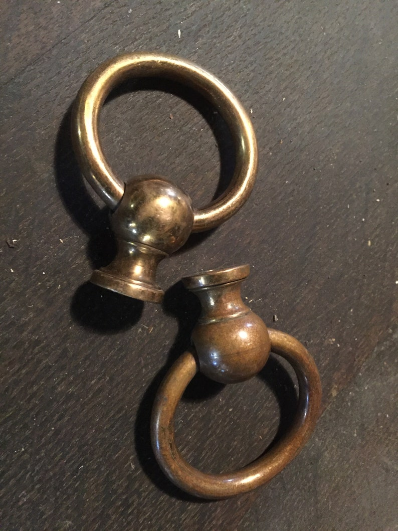 """2 used large BOX HANDLES chest brass furniture antiques old style 9/"""" solid BRASS"""