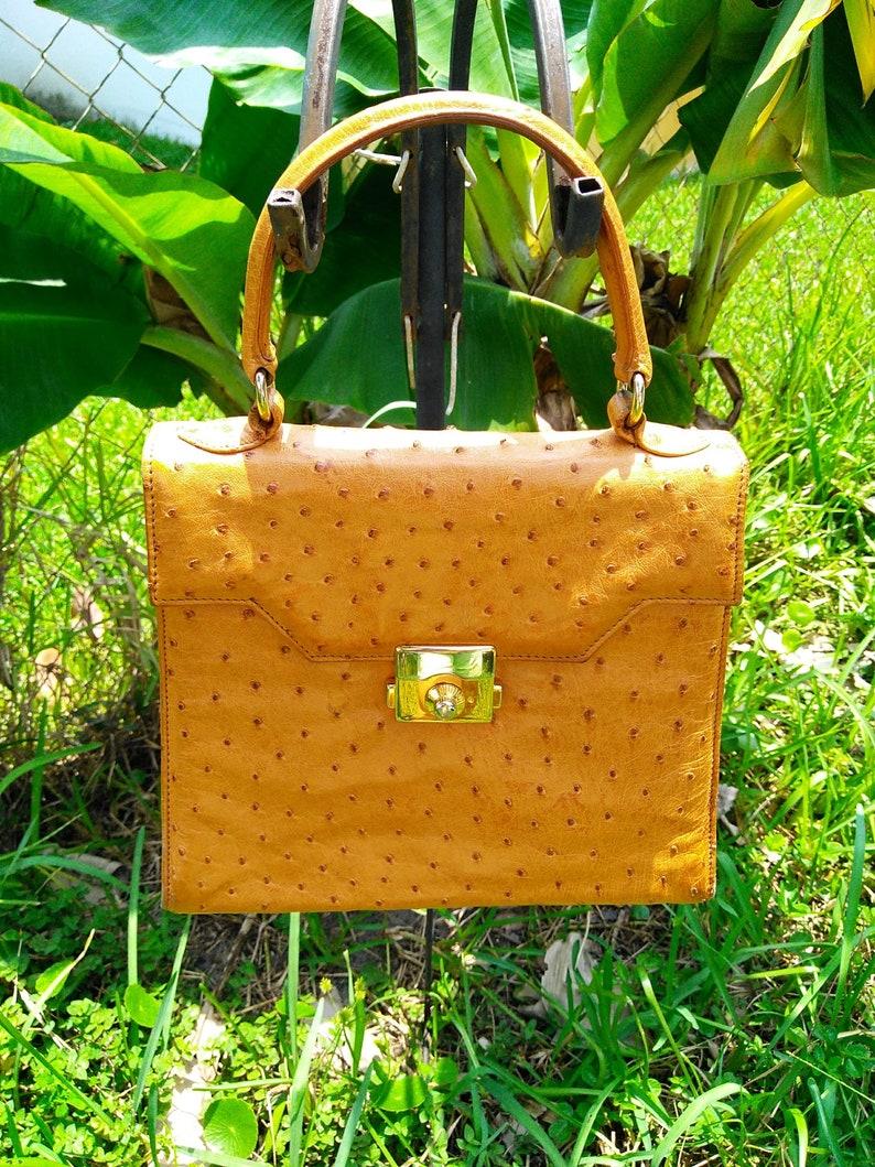 539286733ea6 SISO Italy genuine ostrich leather kelly handbag purse bag top handle front  flap shoulder strap back outside slide pocket front and back