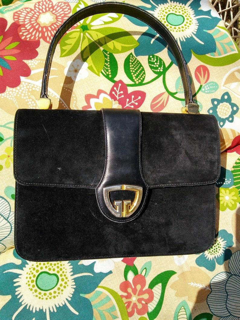 65ba56e96 Gucci Italy top handle purse handbag black suede Leather trim | Etsy