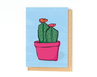 Notecard - Cactus Illustration - Just Because Card - Thank You Card - Miss You Card - Cacti - Recycled Paper - Blank Inside