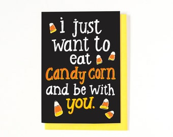 Fall Long Distance Relationship Card - Halloween Card - I Miss You Card - Halloween Greeting Card - Candy Corn Card - Fall Card - Autumn