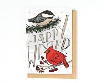 Happy Winter Card - Christmas Greeting Card - Merry Christmas Card - Happy Holidays Card - Chickadee - Cardinal - Illustration
