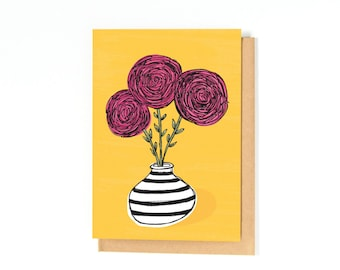 Ranunculus Illustration Card - Flower Greeting Card - Floral - Just Because Card - Thank You Card