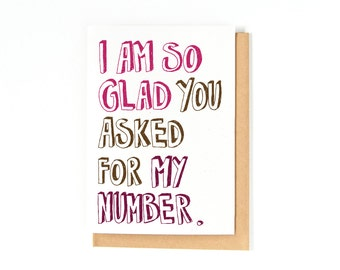 Love Card - Anniversary Card - Asked For My Number - I Love You Card - Happy Anniversary Gift - Valentines Day