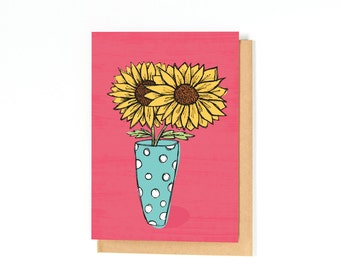 Sunflower Card - Get Well Card - Sympathy Card - Just Because Card - Miss You Card - Thinking Of You - Thank You Card - Blank Inside