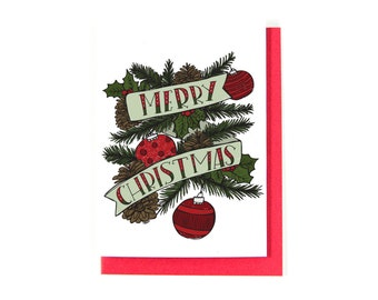 Merry Christmas Greeting Card - Happy Christmas - Christmas Card - Happy Holidays Card - Pinecones and Ornaments - Hand-lettering