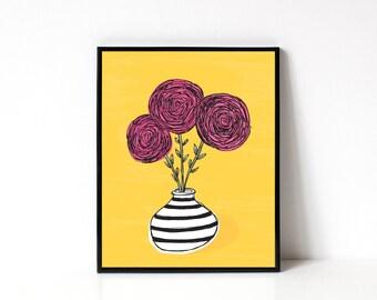 Ranunculus Art Print - Flower Illustration - 8x10 Floral Art Print - Flower Wall Art - Wall Art Print - Office Art Print - Kitchen Wall Art