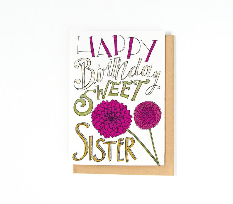 Sister Birthday Card Happy Flower