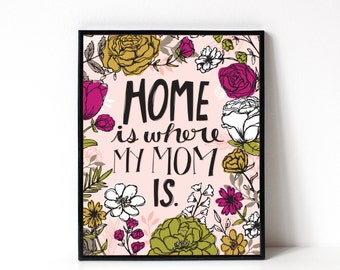 Mother's Day Art Print - Gift For Mom - Home Is Where My Mom Is - Birthday Gift For Mom - 8x10 Print
