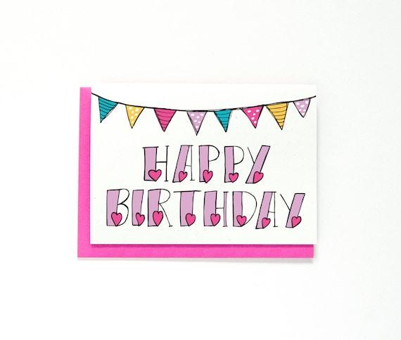 Happy Birthday Card Birthday Greeting Card Bunting Hand Etsy