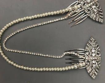 Pearl Hair chain - 1920s hair accessory - Bridal hair comb - Art deco dress - hair drape - wedding hair chain - wedding hair