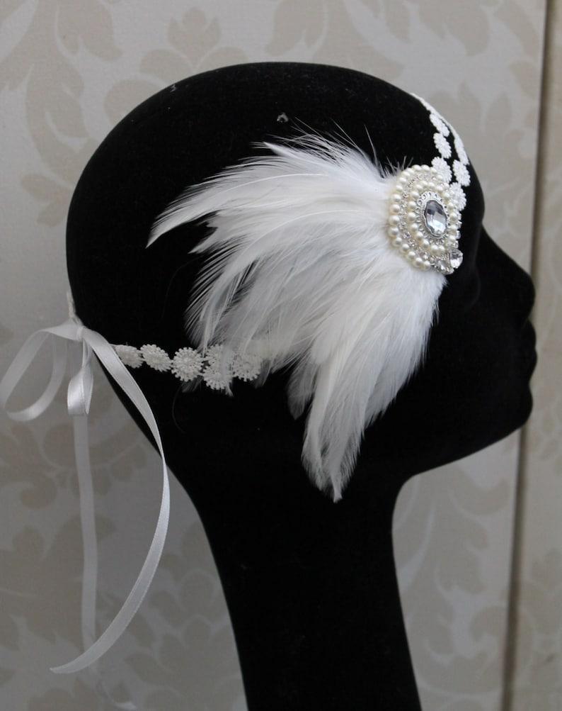 Flapper headpiece Art deco headpiece great Gatsby headpiece feather headpiece Gatsby headband 1920s headpiece