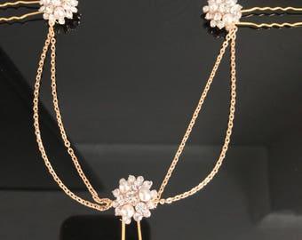 gold Hair chain - chain headpiece - wedding hair chain - 1920s art deco - Bridal hair - Hair accessories- Gatsby headdress - Boho head