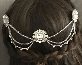Bridal Hair chain headpiece - Art deco Head chain - bridal hair chain - Hair accessory - Gatsby headdress