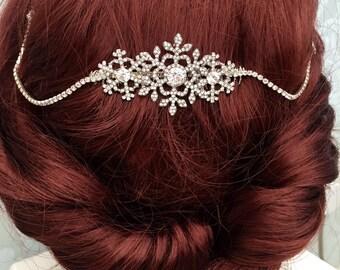 Hair chain headpiece - Great Gatsby headband - winter wedding -wedding headdress - Great Gatsby headdress - Bridal hair drape