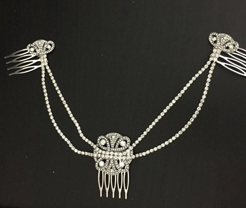 Hair chain for a 1920s wedding Deloras Hair Chain Silver crystal Bridal headpiece