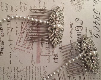 Bridal Hair chain - bridal hairpiece - 1920s art deco style wedding headdress - Gatsby headdress - Bridal hair drape- Forehead