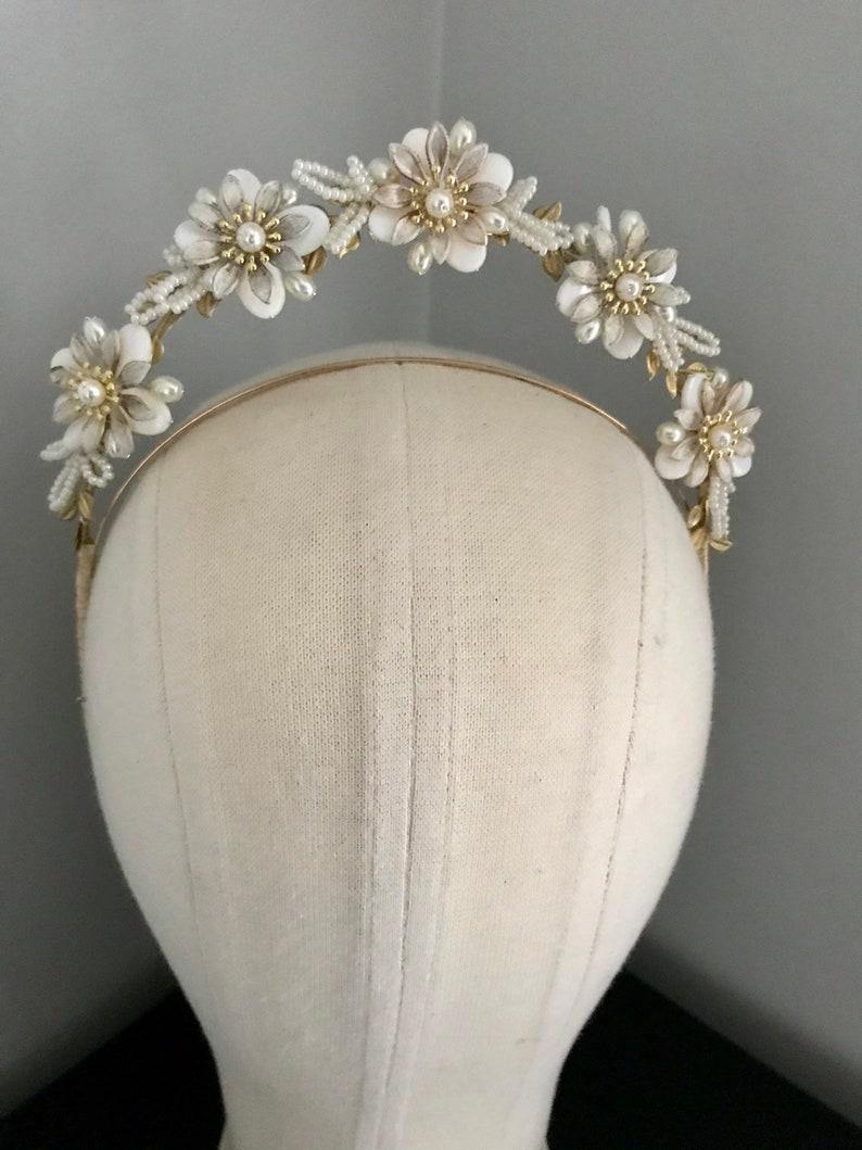 1940s bridal headband Gold or Silver Wild Romance. bridal halo crown 1930s style wedding headpiece antique style tiara