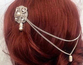 Hair chain headpiece - bridal headpiece - wedding hair chain- 1920s art deco - Bridal - Hair accessories- Gatsby headdress - Boho head chain
