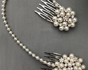 Pearl hair chain - bridal headpiece - 1920s headpiece - head piece - head chain - Bridal hair accessory - Bridal hair drape- Forehead band