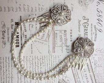 Art deco headpiece hair chain -  Gatsby headpiece- Draped hair chain - Pearl bridal headpiece, , Art Deco Headpiece, 1920s Dress.