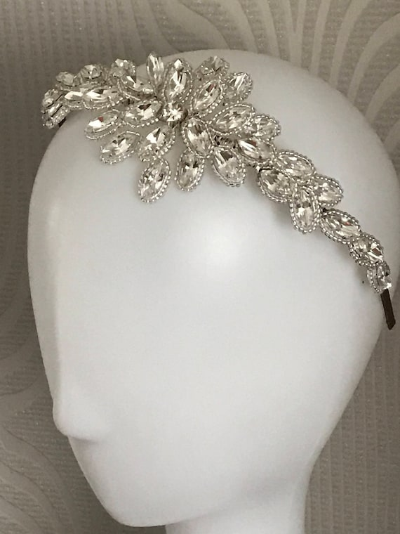 Rose Gold Silver Ivory Bridal Headband Wedding Headpiece Diamante Pearl 3559