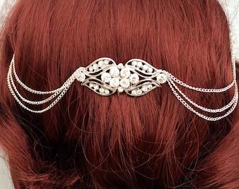 1920s dress Hair chain bridal headpiece - wedding hair chain - Art deco - Bridal hair - Hair accessories- Gatsby headdress - Boho head chain