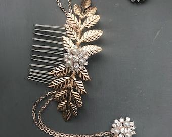 ROSE GOLD Hair chain - leaf headpiece - wedding hair chain - 1920s art deco - Bridal hair - Hair accessories- Gatsby headdress - Boho head