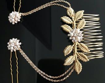 Gold Hair chain - leaf headpiece - wedding hair chain - 1920s art deco - Bridal hair - Hair accessories- Gatsby headdress - Boho head