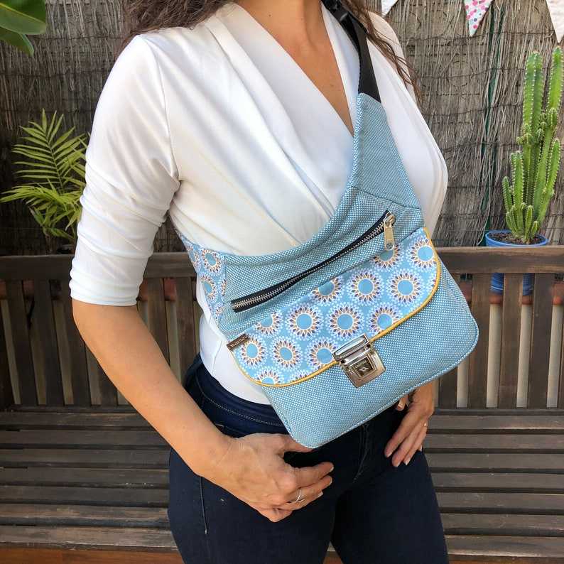 6234 Elegant Bandolier Fanny Pack Comfortable Practical Bag Design: Special Sky Blue Mandalas One of A Kind\u201d Unique Piece Num