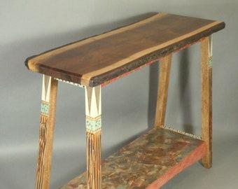 Live Edge Hall Table | Walnut Top | Handpainted Base | Shelf | Carved Legs | One-of-a-kind