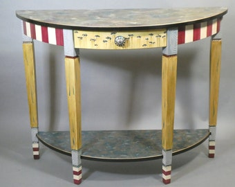Hand Painted Console Table - Sofa Table - Demi-Lune | Maroon-Grey-Teal Custom Made-To-Order