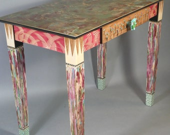 Desk or Vanity-Carved Legs or Turned Legs: Shown in Berry-Green |  Custom Made-To-Order