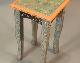 Square Tea Table - Drinks Table:  Coral, Custom Made-To-Order
