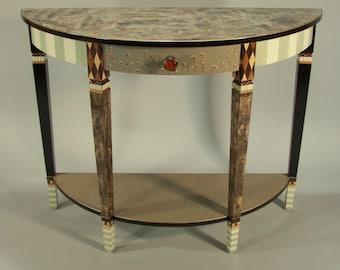 Console Table- Sofa Table - Demi-Lune - Handpainted - Aqua-Ivory-Anthropologie Knob, Custom Made-To-Order