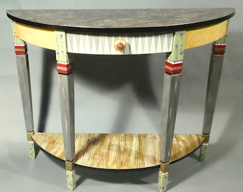 Handpainted Demi-Lune Console or Sofa or Serving Table | Shown in Gold-Grey-Maroon w-Susan Goldstick Knob, Custom Made-To-Order