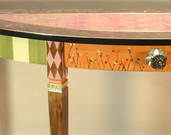 Hand painted Console Table - Sofa Table - Demi-Lune: Berry-Coral-Green-Anthropologie Knob, Custom Made-To-Order