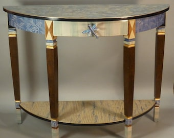 Hand painted Console Table- Sofa Table - Serving Table - Demi-Lune: Blue-Dragonfly-Anthropologie Knob, Custom Made-To-Order