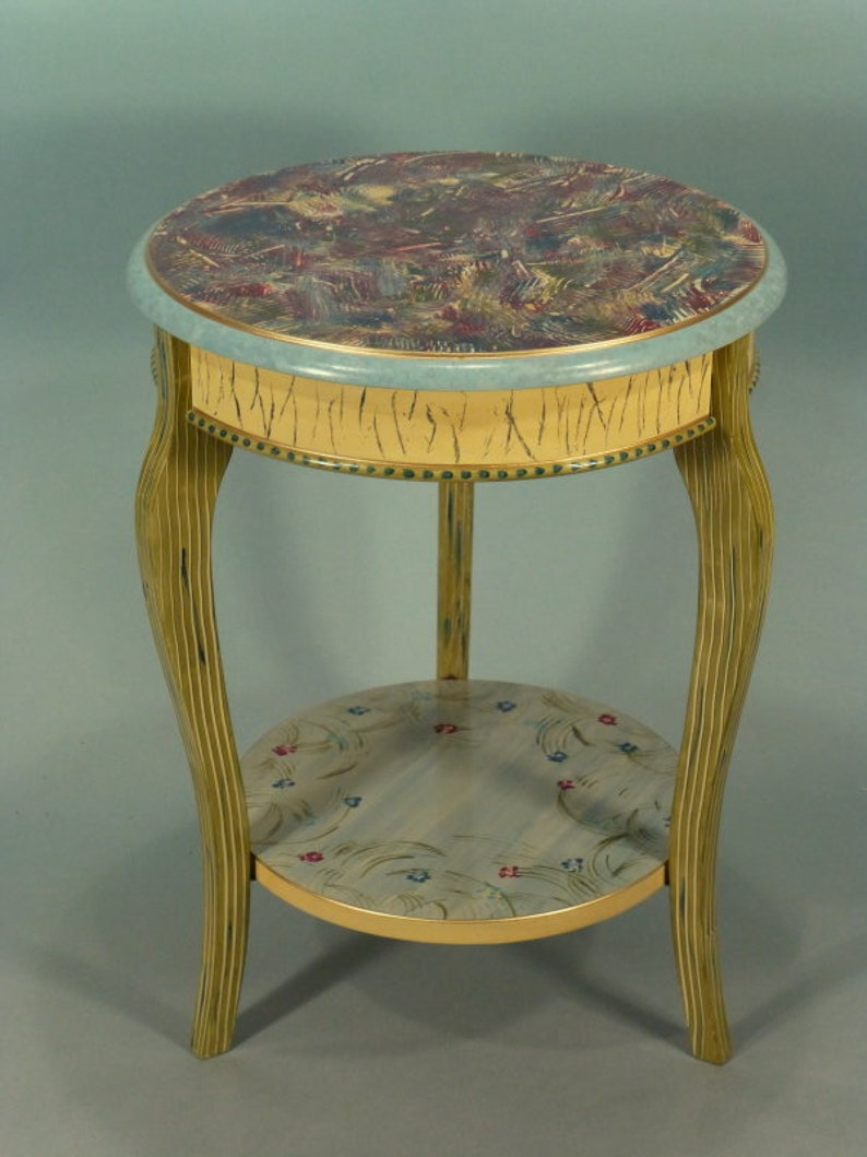 Cabriole Accent Table: Blue Green Yellow, Custom Made To Order